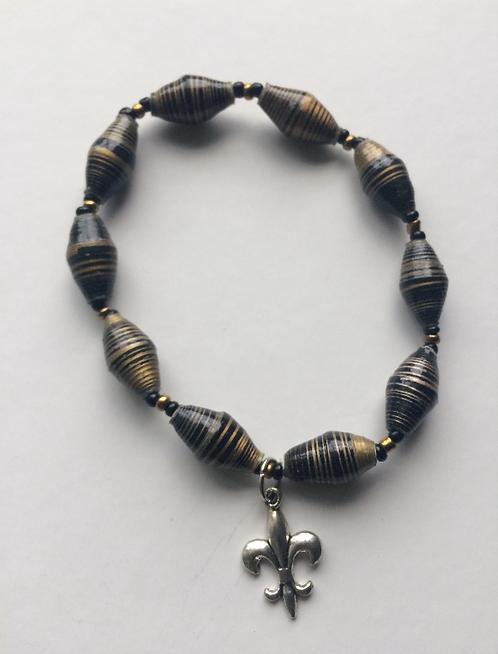 Striped Black & Gold Bracelet w/Fleur-de-lis