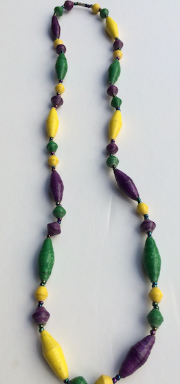 Mardi Gras Cone Necklace, Interlaced Colors