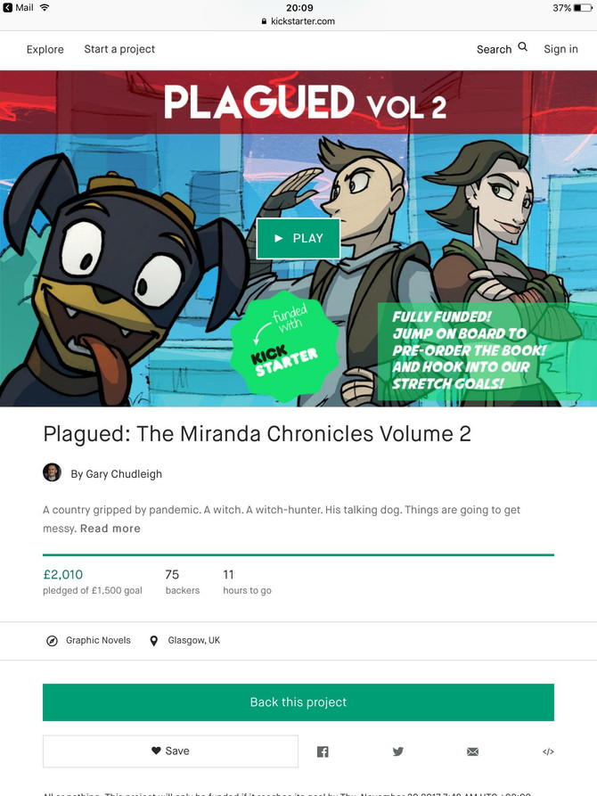 Plagued volume 2 Kickstarter success