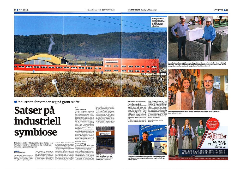 Pressklipp ur Sør-Trøndelag, 3 feb 2018
