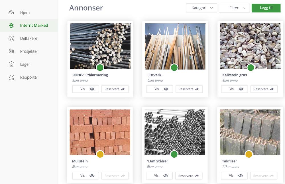 Skärmdump från den digitala plattformen där resurserna registreras.