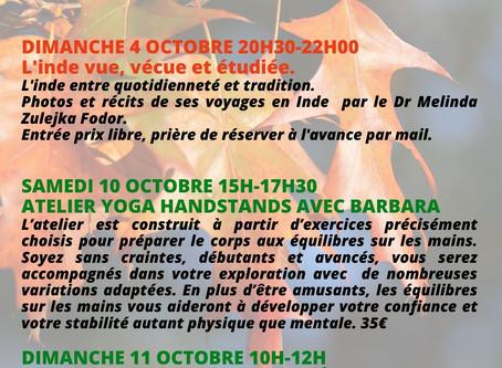 Ateliers et rencontres pour le mois d'octobre