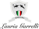 Logo for Lauria Garrelli. Shows crest with two horses and Italian Flag