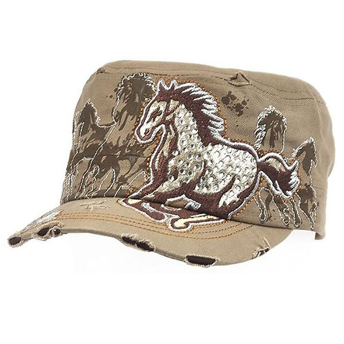 Vintage Cap w/Running Horses and Rhinestones