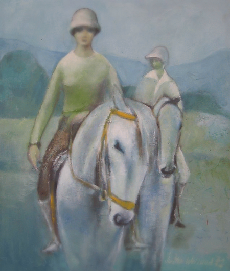 Logo image for DQ's Corner. Painting by Jutta Weiland, shows two riders on their white horses