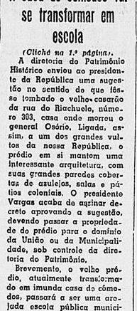 Notícia do tombamento do prédio, por Vargas. A Noite, 22 de junho de 1951