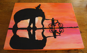 """Sweet Ride"""" (showing elephant's back extending over canvas edge)"""