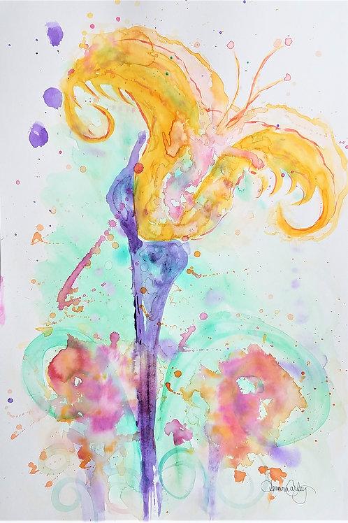 """12X16 Original """"Tulip Flame"""" Hydrus Watercolor"""