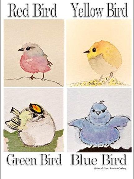 "Notecard Set ""Color Birds"" Set/8 Cards"
