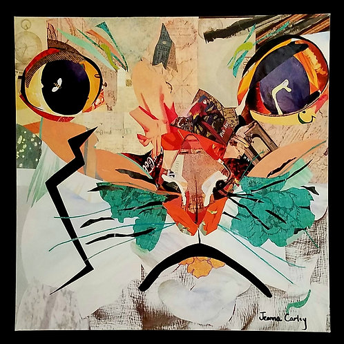 """SOLD """"Catfight"""" Original Collage Art on Canvas (Contact for actual pricing.)"""
