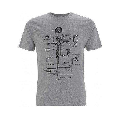 OILY RAG Wiring Diagram T-shirt Grey