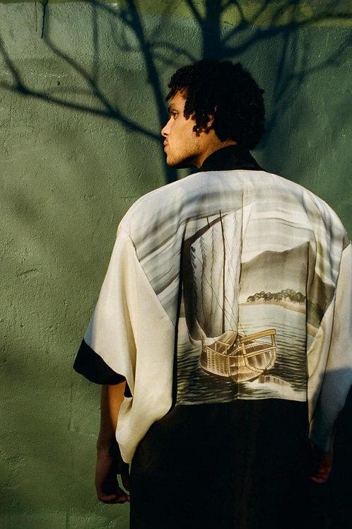 Mens Vintage kimono - Ship scene
