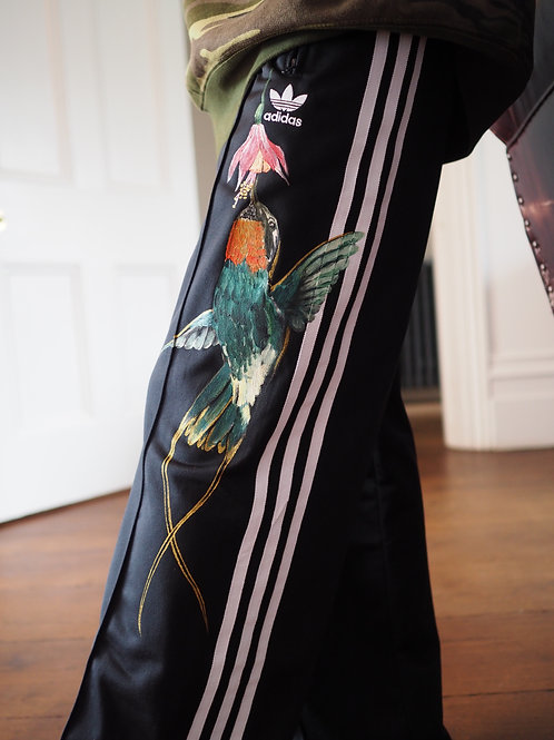 Doctor Bird - hand painted adidas track trousers