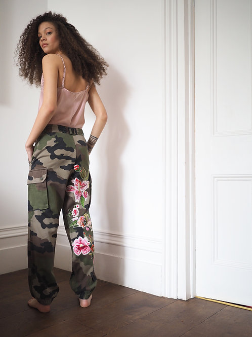 Embroidered High Waist Up-cycled vintage Army trouser