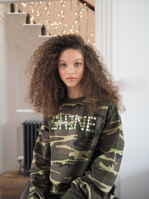 'Shine' Hand Mirrored Camo Sweatshirt