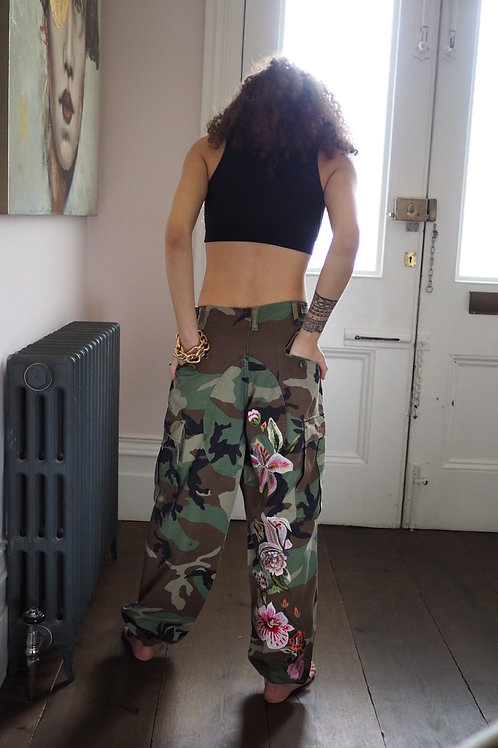 Embroidered Camo Combat Trouser
