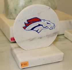 Denver Broncos logo painted on marble