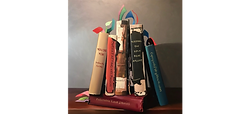 Oil painting of books with titles titles YOU DO YOU Indirectly For Me, OVERREACTING wtih Passion, Palatable Love Stories, Keeping The Love Boat Afloat and Coping With Paltry Mind Readers