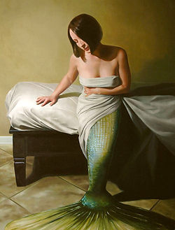 Oil painting of a mermaid getting out of a bed, wrapped in a sheet