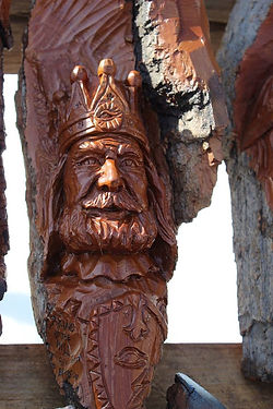 Wood carving of a king