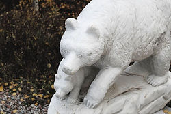 Mama bear and cub carved from marble