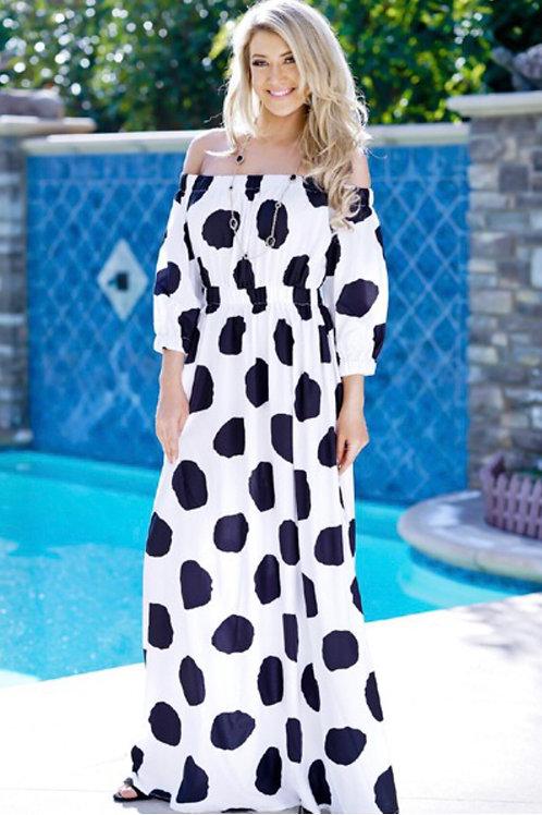 Polka Dot Off Shoulder Maxi Dress