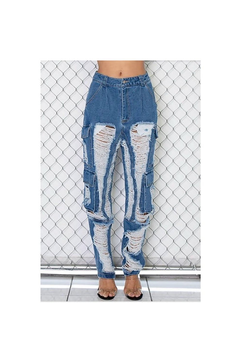 Frayed Distressed Cargo Jogger Jeans