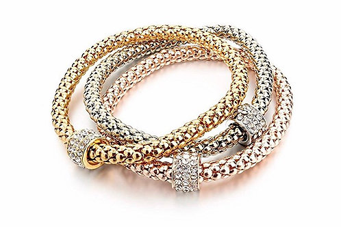 3pc Gold Silver Plated Charm Bracelets
