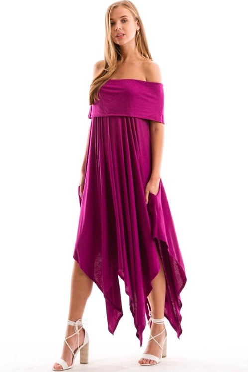Magenta Handkerchief Off Shoulder Dress