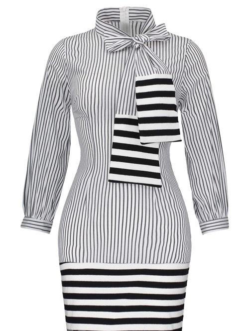 Striped Bowknot Dress