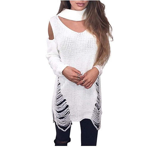 Pullover Ripped Sweater w/ Choker