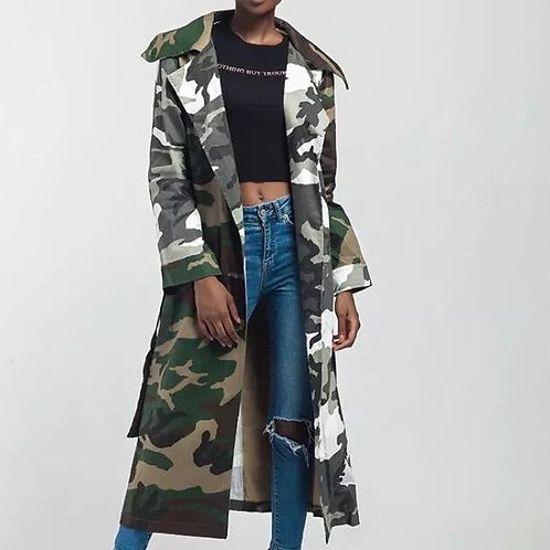 Two Toned Camouflage Trench Coat