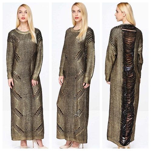 Foil Shredded Sweater Dress