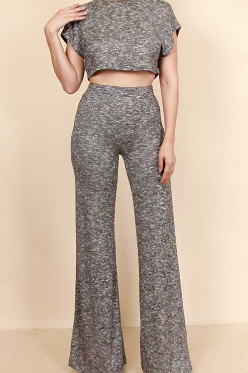 Knit Crop Pants Set