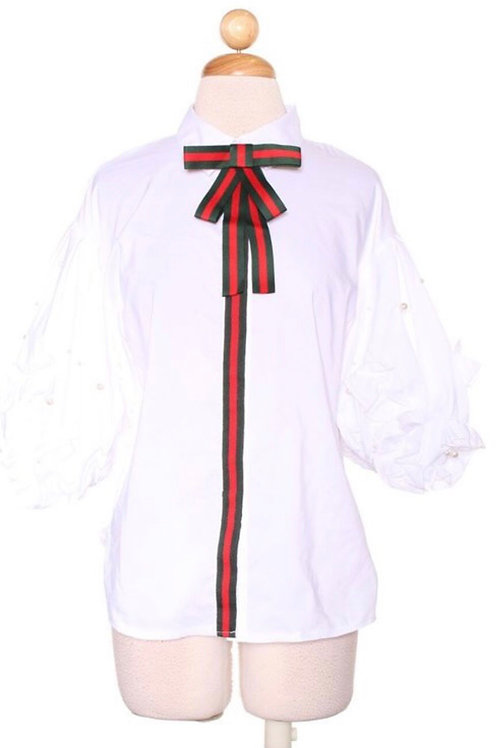 Pearl Ruffle Sleeve Ribbon Top