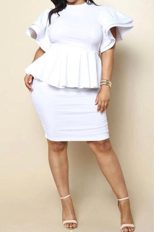 Peplum Tiered Sleeve Dress