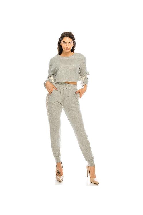 Rhinestone CutOut Pants Set