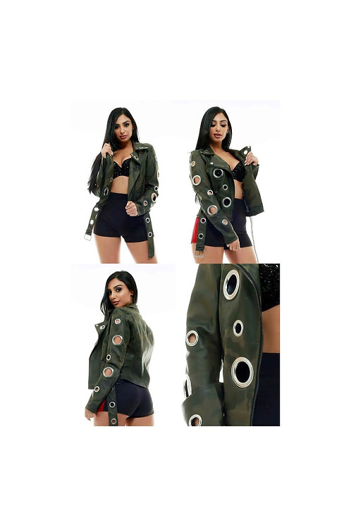 Camouflage Faux Leather Grommet Jacket