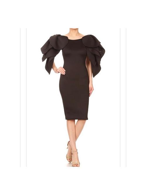 Ruffle Petal Sleeve Dress