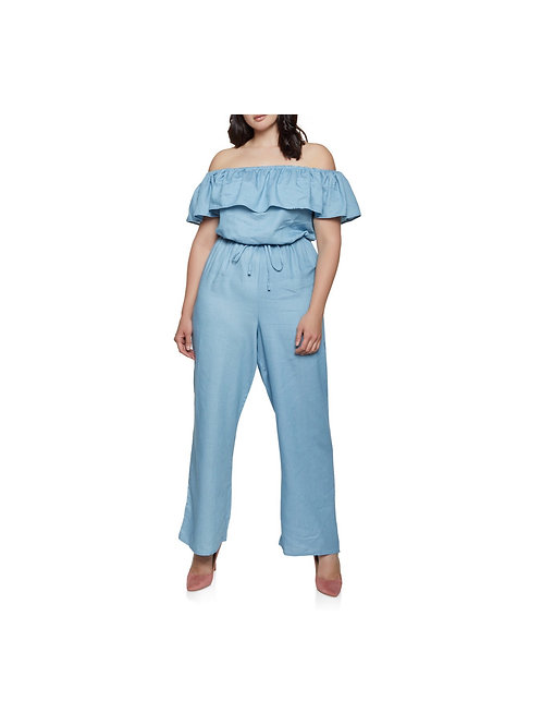 Ruffle Off Shoulder Denim Jumpsuit