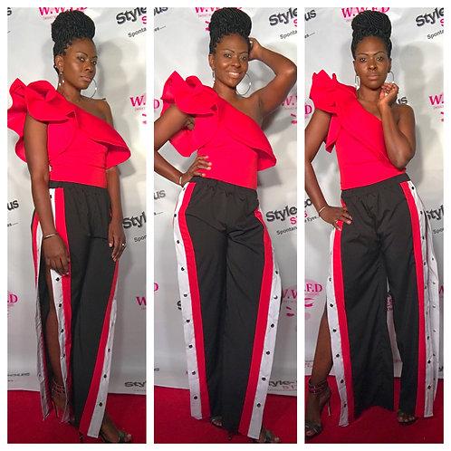 Streetwear Stripe Side Button Pants