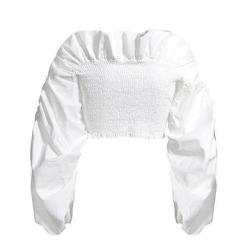 Ruffle Ruched Crop Top