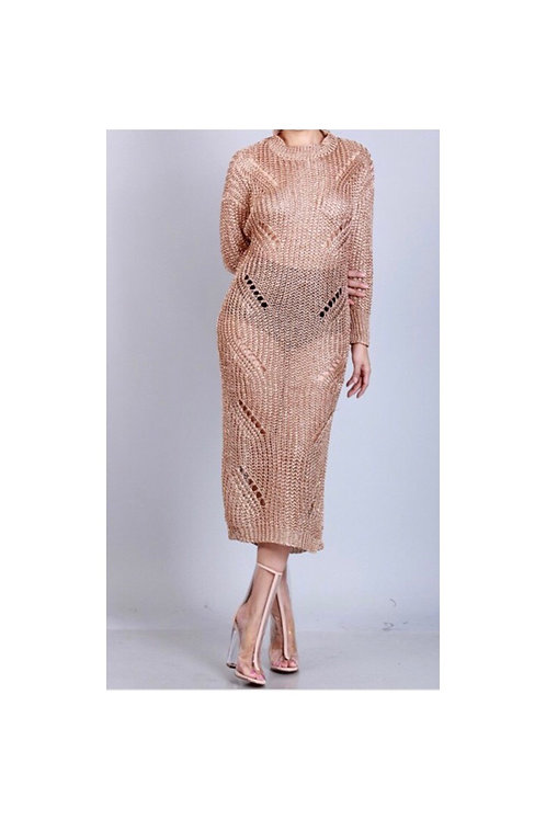 Distressed Metallic Sweater Dress