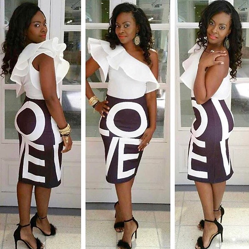 Black Love Letter Pencil Skirt