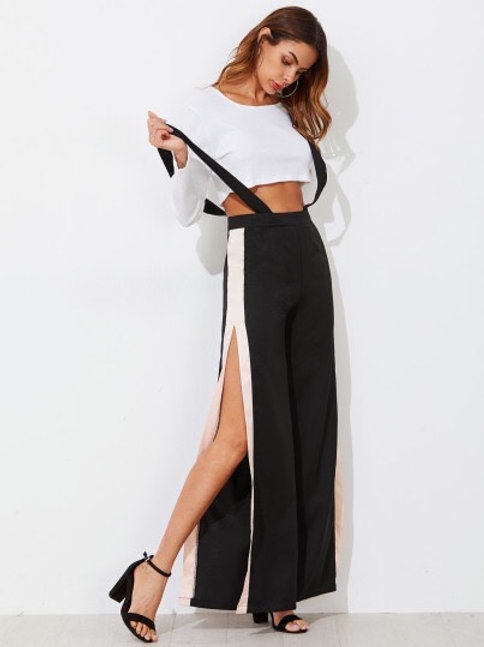 Contrast Wide Leg Slit Pants