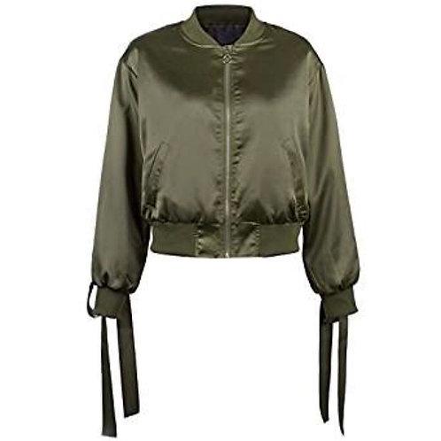 Lace Up Satin Bombet Jacket