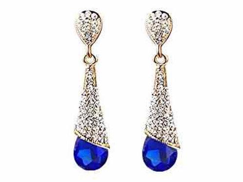 Gold Plated Rhinestone Waterdrop Earrings: