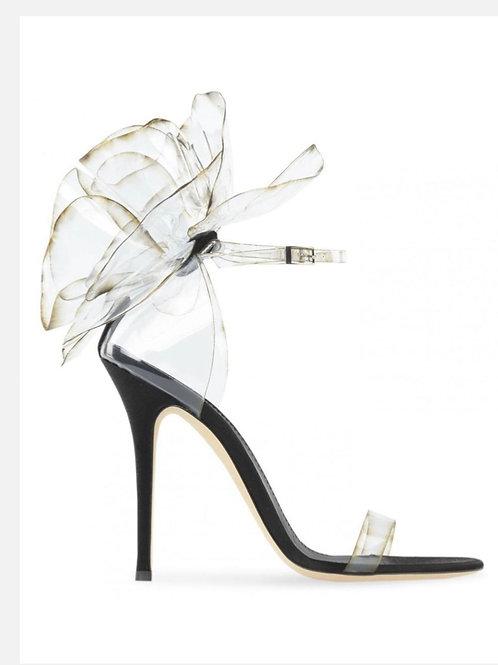 Vinyl Flower Ankle Strap Heels