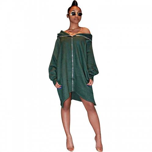 Loose Hooded Zip Shirt/Dress