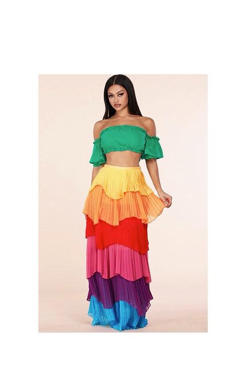 Ruffle Color block skirt Set